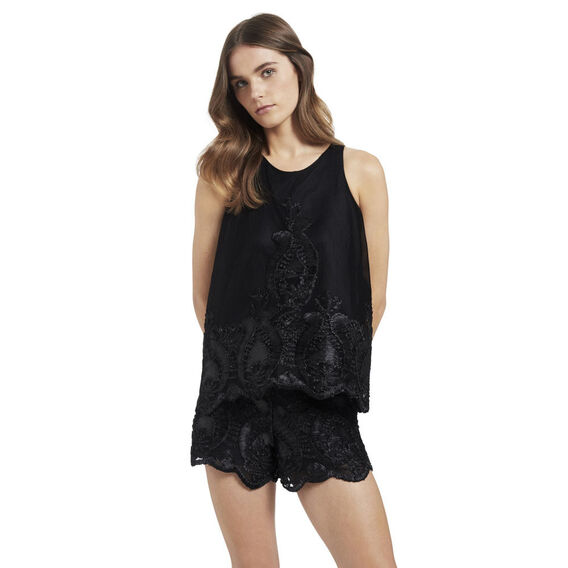 Flare Lace Top  BLACK  hi-res