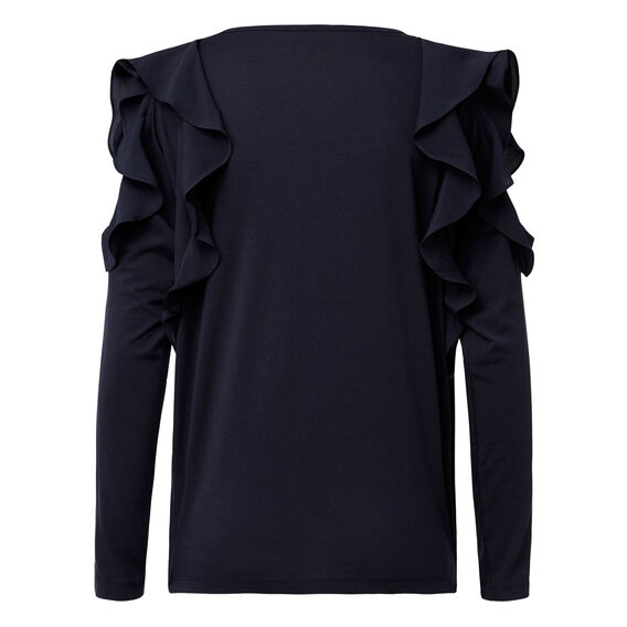 Double Frill Long Sleeve Tee  INK BLUE  hi-res