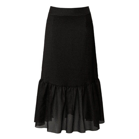 Self Stripe Longline Frill Skirt  BLACK  hi-res