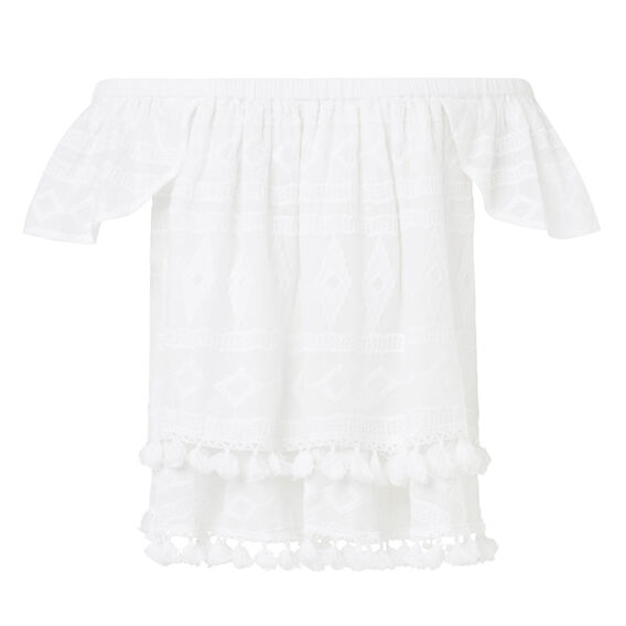 Embroidered Petal Top  WHITE  hi-res
