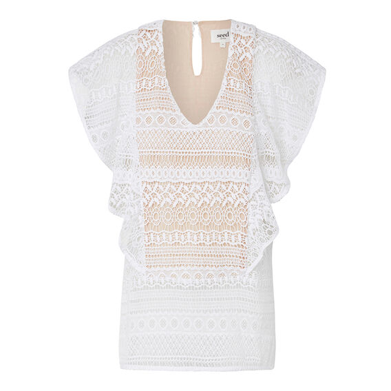 Collection Frill Lace Top  WHITE  hi-res
