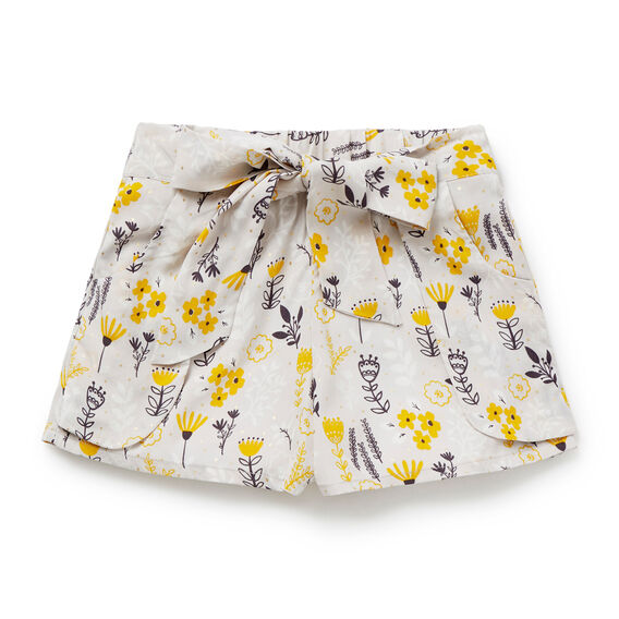 Floral Print Tie Shorts  DOVE GREY  hi-res