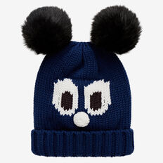 Knit Pom Pom Face Beanie  INK BLUE  hi-res