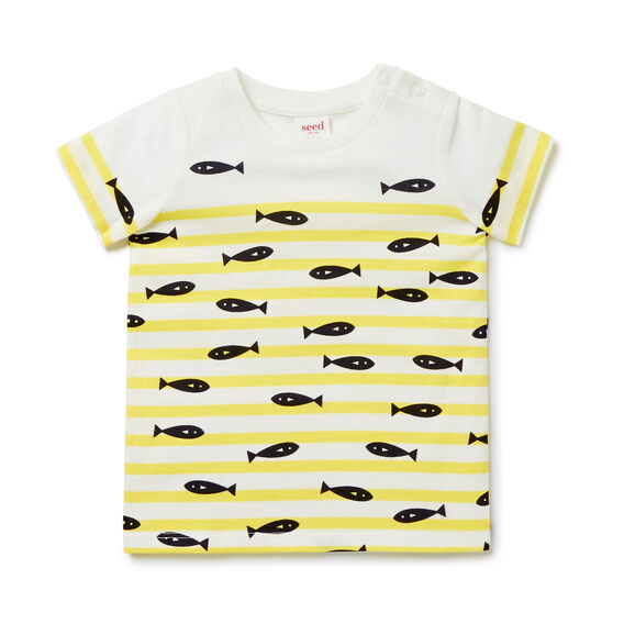 Fish Stripe Tee  CANARY YELLOW  hi-res