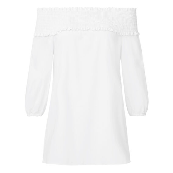 Longline Off Shoulder Top  WHITE  hi-res