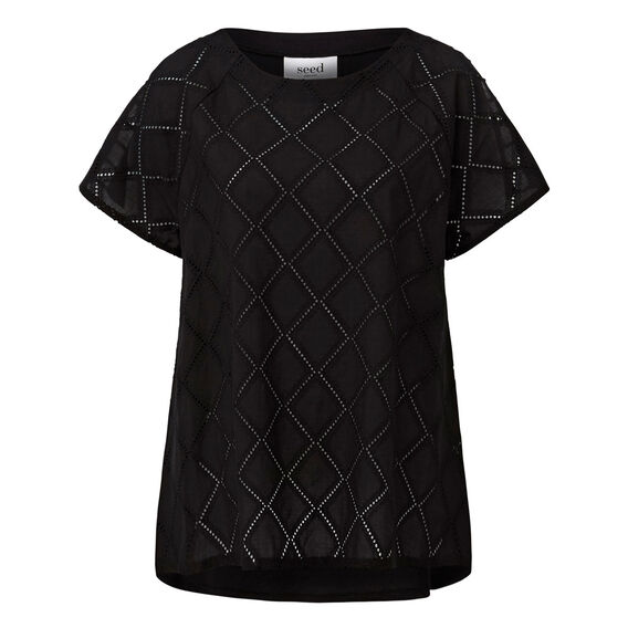 Diamond Broderie Tee  BLACK  hi-res