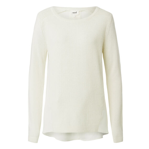 Splice Knitted Sweater  CREAM  hi-res