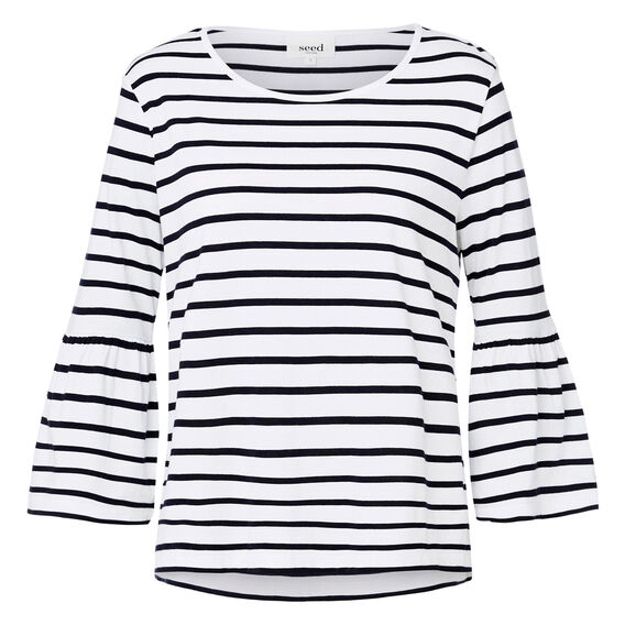 Frill Sleeve Stripe Top  INK BLUE/WHITE STRIP  hi-res
