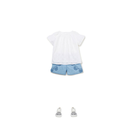 Chambray Broderie Shorts  POWDER BLUE  hi-res