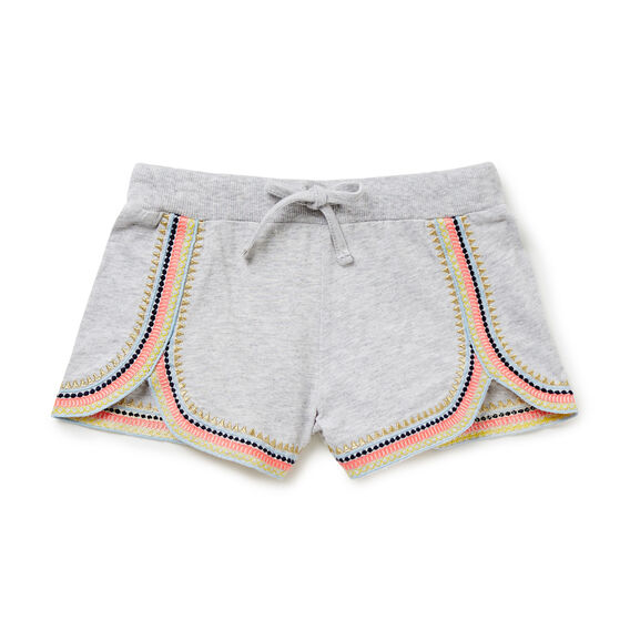 Embroidered Runner Shorts  CLOUD  hi-res