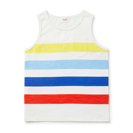 Block Stripe Tank  VINTAGE WHITE  hi-res