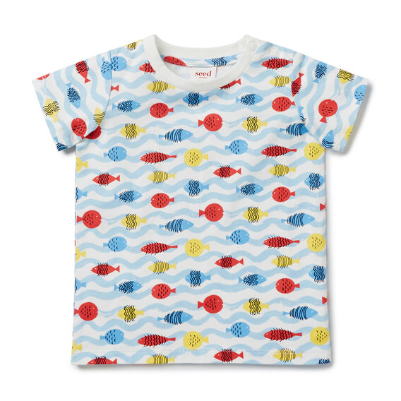 Fishy Waves Tee  PACIFIC BLUE  hi-res