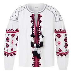 Aztec Embroidered Blouse  WHITE  hi-res