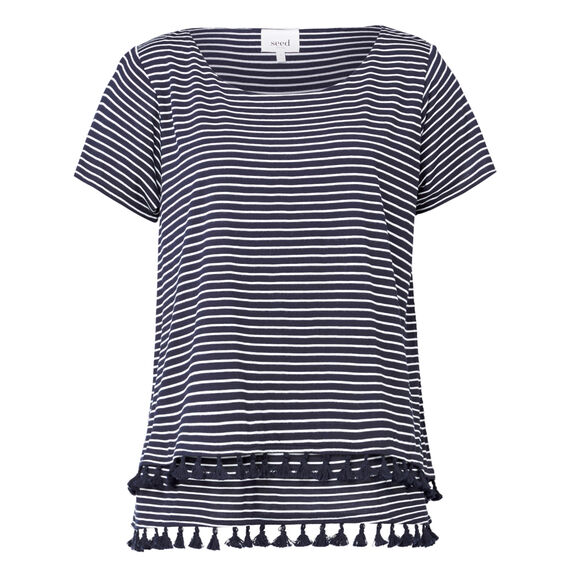 Tassel Trim Tee  STRIPE  hi-res