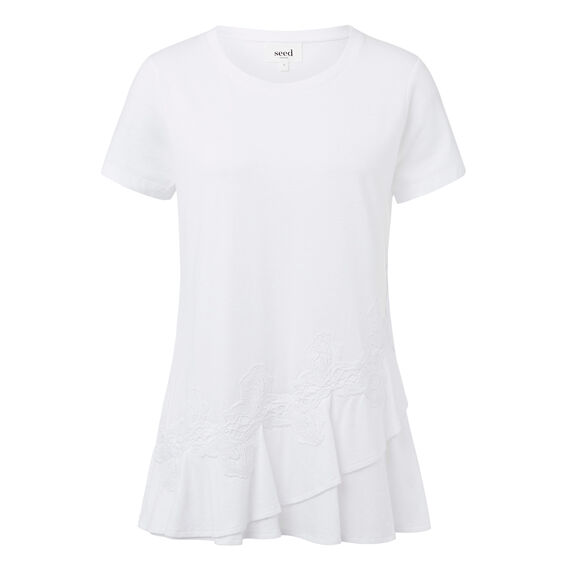 Frill Lace Peplum Tee  WHITE  hi-res