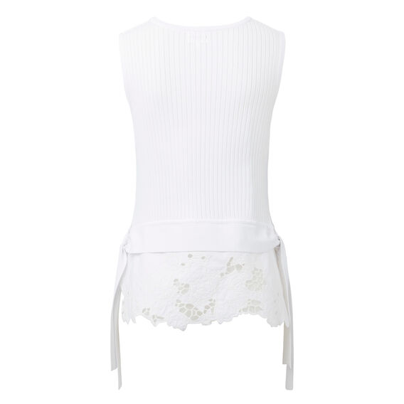 Knitted Lace Hem Top  WHITE  hi-res