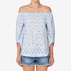 Embroidered Stripe Top  DUTCH BLUE/ WHITE  hi-res