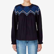 Embroidered Yoke Top  INK BLUE  hi-res