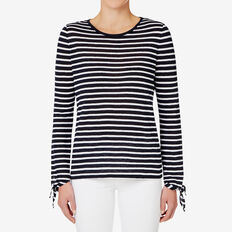 Tie Cuff Top  INK BLUE STRIPE  hi-res