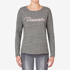 Bonsoir Embroidered Sweater  CHARCOAL MARLE  hi-res