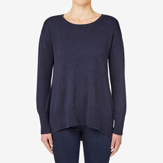 A Line Split Hem Sweater  INK BLUE  MARLE  hi-res