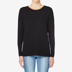 Mini Rib Hi Lo Sweater  BLACK  hi-res