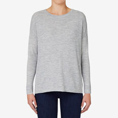 Mini Rib Hi Lo Sweater  MID GREY MARLE  hi-res