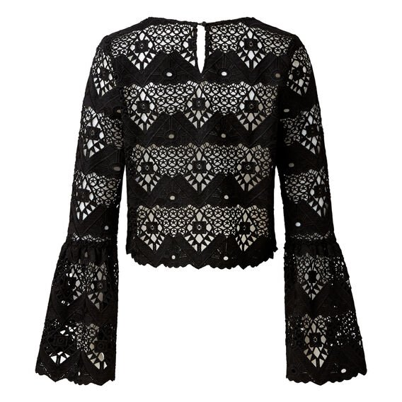 Lace Crop Bell Sleeve Top  BLACK  hi-res