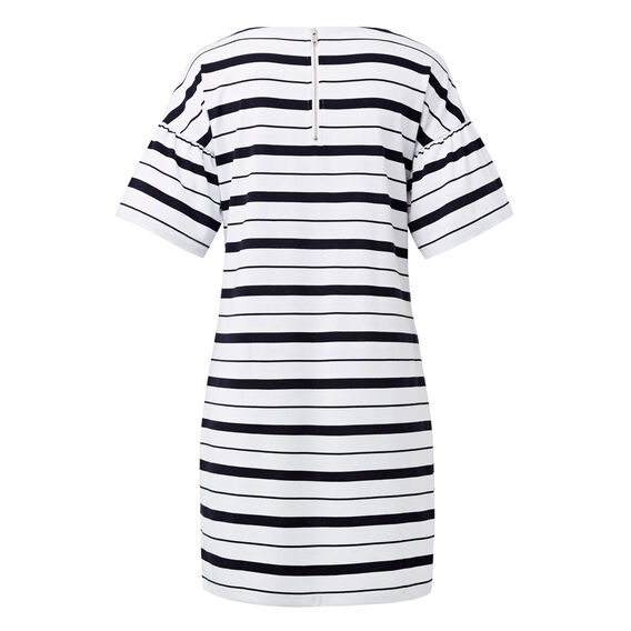 Frill Sleeve Tee Dress  INK BLUE/WHITE STRIP  hi-res