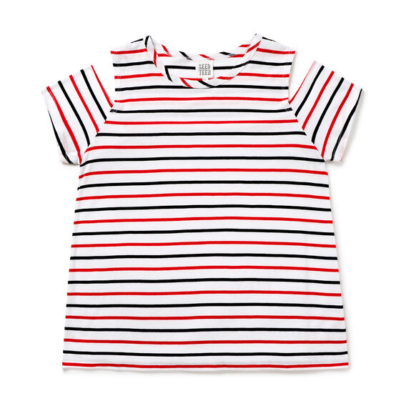 Cold-Shoulder Stripe Tee  RUBY  hi-res