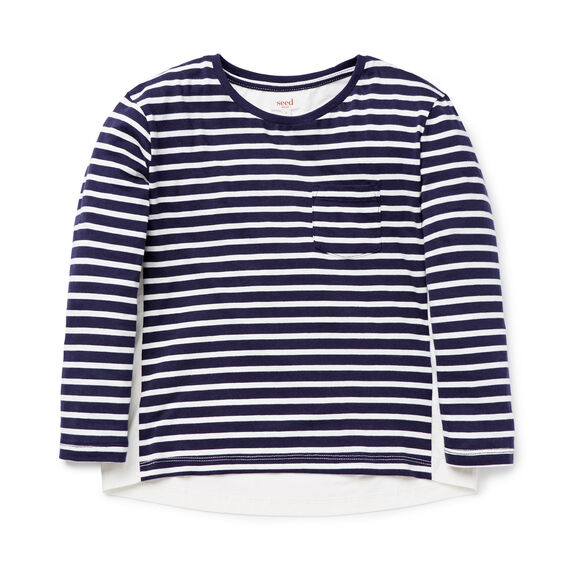 Stripe Woven Panel Tee  NAVY  hi-res
