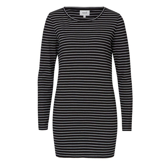 Long Sleeve Tunic Tee  BLACK/WHITE STRIPE  hi-res
