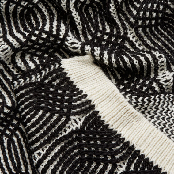 Knitted Loop Scarf  BLACK/WHITE  hi-res