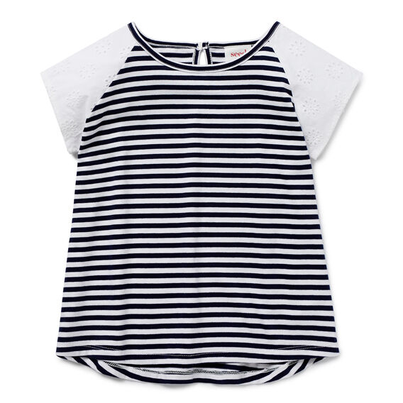 Broderie Sleeve Stripe Tee  NAVY  hi-res