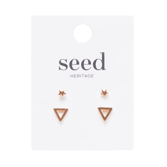 Triangle and Star Stud Set  ROSE GOLD  hi-res