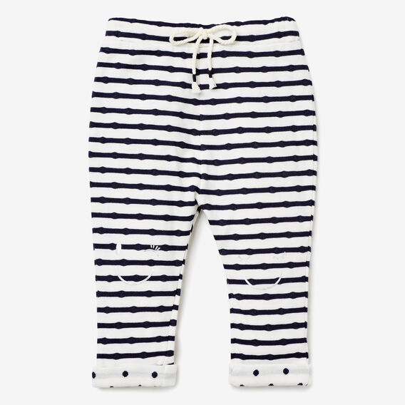 Double Knit Stripe Pant  NAVY  hi-res