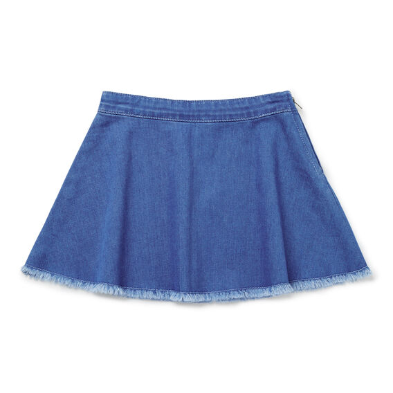 Raw Hem Denim Skirt  BRIGHT INDIGO  hi-res