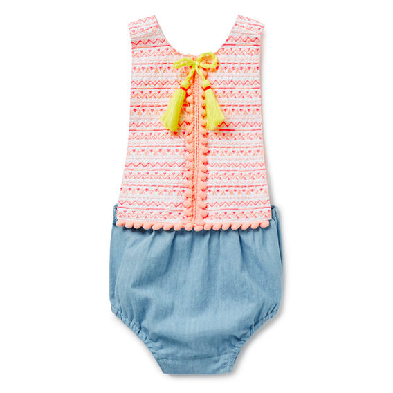 Embroidered Tassel Trim Romper  SUNBLEACHED CHAMBRAY  hi-res
