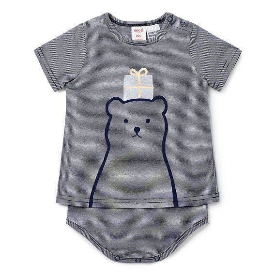 Gift Bear Bodysuit  NAVY  hi-res
