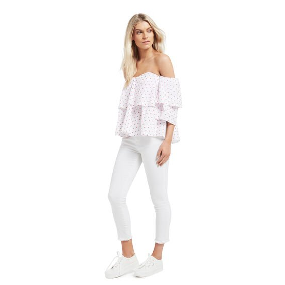 Dobby Off Shoulder Top  CAYENNE RED/WHITE  hi-res
