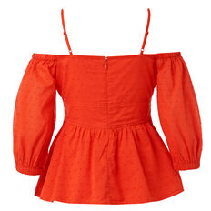 Textured Cold Shoulder Top  CAYENNE RED  hi-res