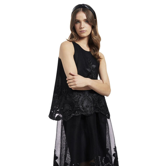 Dancing Lace Skirt  BLACK  hi-res