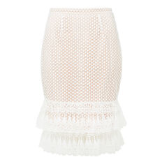 Frill Lace Pencil Skirt  WHITE  hi-res