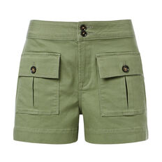 High Waisted Button Short  HERITAGE GREEN  hi-res