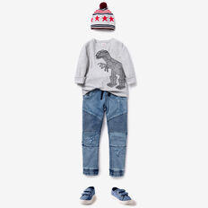 Dino Print Sweater  SMOKE GREY MARLE  hi-res