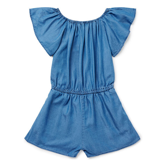 Ruffle Sleeve Playsuit  INDIGO CHAMBRAY  hi-res