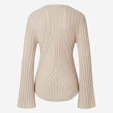 Flared Sleeve Cable Knit  IVORY  hi-res