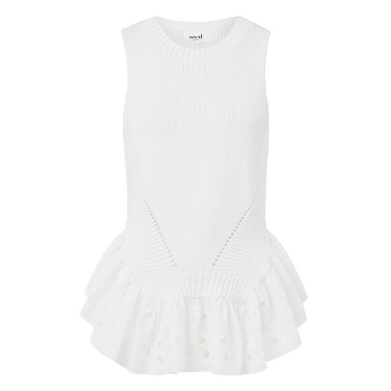 Collection Lace Crepe Peplum Tank  WHITE  hi-res