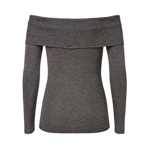 Off Shoulder Mix Sweater  MID CHARCOAL  hi-res