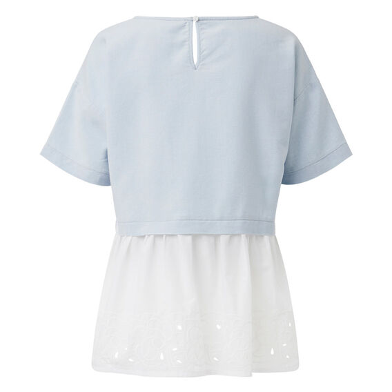 Oversized Lace Hem Top  PASTEL BLUE  hi-res